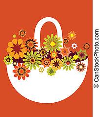 Spring-Blumenkorb-Karte, Vektor-Illustration