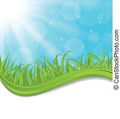 Spring Naturkarte mit grünem Gras