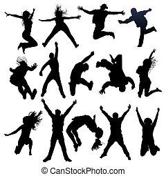 Springen und fliegende Menschen