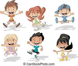 springende , karikatur, kinder