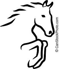 Springende Pferdekontur.