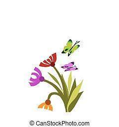 Springtime Blümchen und Schmetterlinge -1