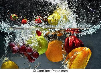 spritzen, frische frucht, wasser