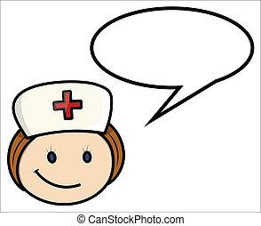 spruch, krankenschwester, vektor, -, karikatur
