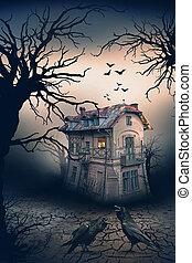 Spukhaus mit Krähen und Horrorszene.