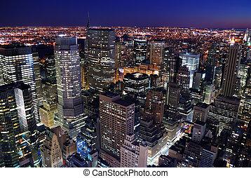 städtischer skyline, luftaufnahmen, stadtansicht