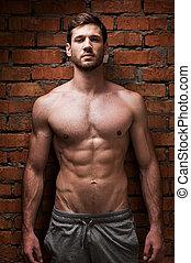 stärke, masculinity., posierend, gegen, muskulös, mauerstein, junger, wand, mann, hübsch, stehende , während
