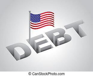 staaten, national, vereint, schuld