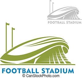 stadion, fußball, flaggen, gebäude