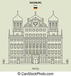 stadt, germany., grenzstein, halle, ikone, augsburg