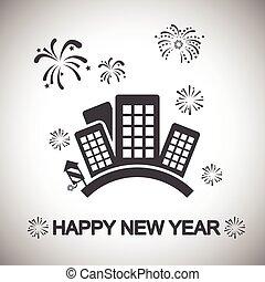 Stadt, glückliches neues Jahr.