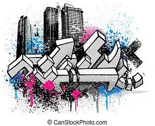 stadt, graffiti, hintergrund