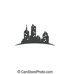 stadt, hintergrund, vektor, skyline