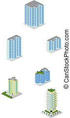 stadt, isometrisch, mehrfamilienhäuser, satz