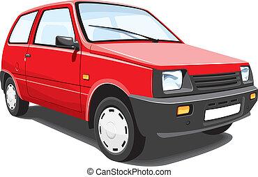 stadt, rotes auto