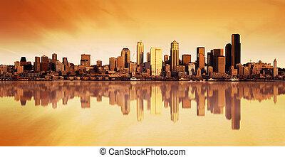 Stadtsicht Sonnenaufgang