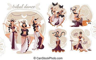 stamm, schöne , vektor, ethnisch, tanz, abbildung, verrichtung, rituell, frauen