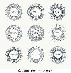 Stammes-, böhmischen Mandala-Hintergrund mit runden Ornamenten, Mustern und Elementen