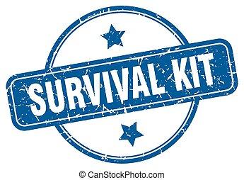 stamp., runder , überleben, briefmarke, weinlese, satz, grunge