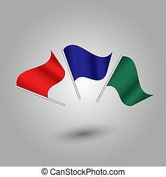 stange, farbe, satz, blaues, silber, gefärbt, vektor, grün, -, rotes , flaggen, winkende