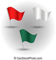 stange, farbe, satz, weißes, silber, gefärbt, vektor, grün, -, rotes , flaggen, winkende