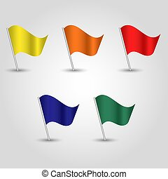 stange, satz, blaues, silber, gefärbt, vektor, grün, -, orange, gelber , flaggen, rotes , winkende