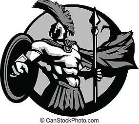 Starkes spartanisches oder trojanisches Maskottchen mit Speer und Schild