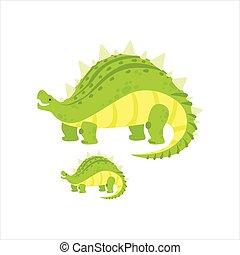 stegosaurus, prähistorisch, exemplar, monster, groß, paar, abbildung, dinosaurierer, vektor, grün, klein, ähnlich, karikatur