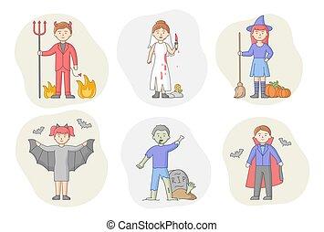 stehende , karikatur, halloween, concept., party, wohnung, vampire, leute, reihe, abbildung, grobdarstellung, verkleidet, vektor, zusammen., gruppe, charaktere, linear, holiday., hexen, übel, feiern, style.