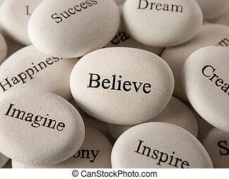 steine, glauben, -, inspirational