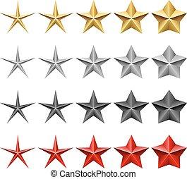 Sternen-Icons-Vektor, isoliert auf weißem Hintergrund.