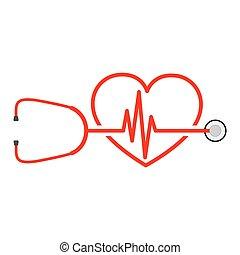 Stethoskop, Herzschlagzeichen und Herz. Vector Illustration