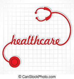 stethoskop, machen, wort, healthcare