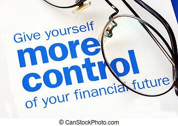 steuerung, finanziell, fokus, zukunft, nehmen, dein