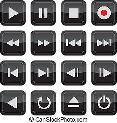 steuerung, multimedia, satz, glänzend, ikone