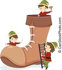 stickman, kinder, weihnachtshelfer, schuh, abbildung
