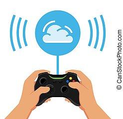 stil, abbildung, wolke, begriff, wohnung, vektor, gaming, design