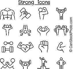 stil, satz, dünne linie, starke , ikone