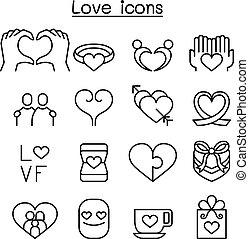 stil, satz, liebe, dünne linie, ikone