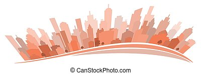 stilisiert, cityscape, weißes