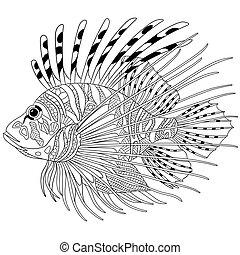 stilisiert, zentangle, fische