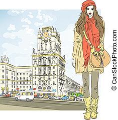 stilvoll, skizze, vektor, city-center, m�dchen