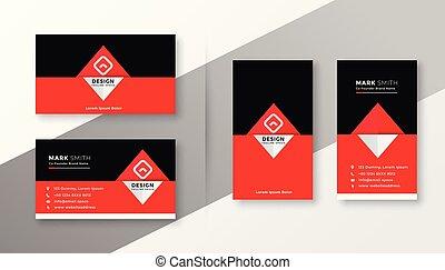 Stilvolles, rotes und schwarzes Visitenkartendesign.