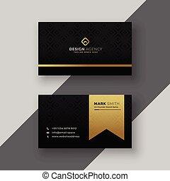 Stilvolles schwarzes und goldenes Visitenkartendesign.