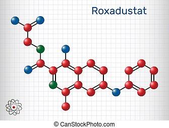stimulates, inhibitor, roxadustat, blut, produktion, ihm, prolyl, rotes , cells., käfig, molecule., papier, blatt, hydroxylase, hämoglobin