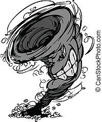 Storm Tornado-Mascot Vektor-Wagenwagen