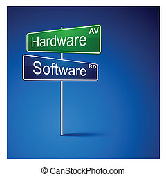 straße, software, richtung, zeichen., hardware