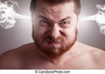 Stress-Konzept - wütender Mann mit explodierendem Kopf