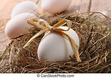 stroh, nest, schleife, holz, weißes ei
