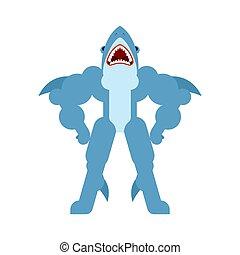 strongman, mächtig, predator., shark., marine fische, starke